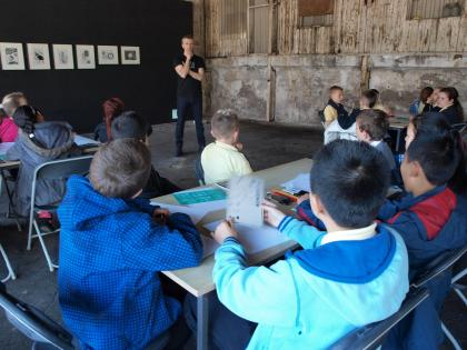 Young EVA workshop with artist Garrett Phelan in Cleeves Factory, EVA International 2014. Photograph Katy Fitzpatrick.
