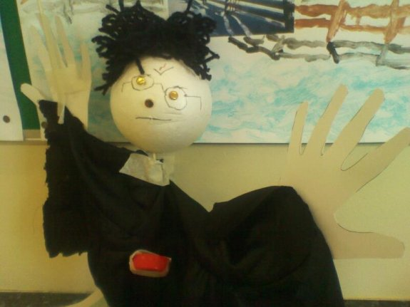 Harry Potter puppet by 9 yr old
