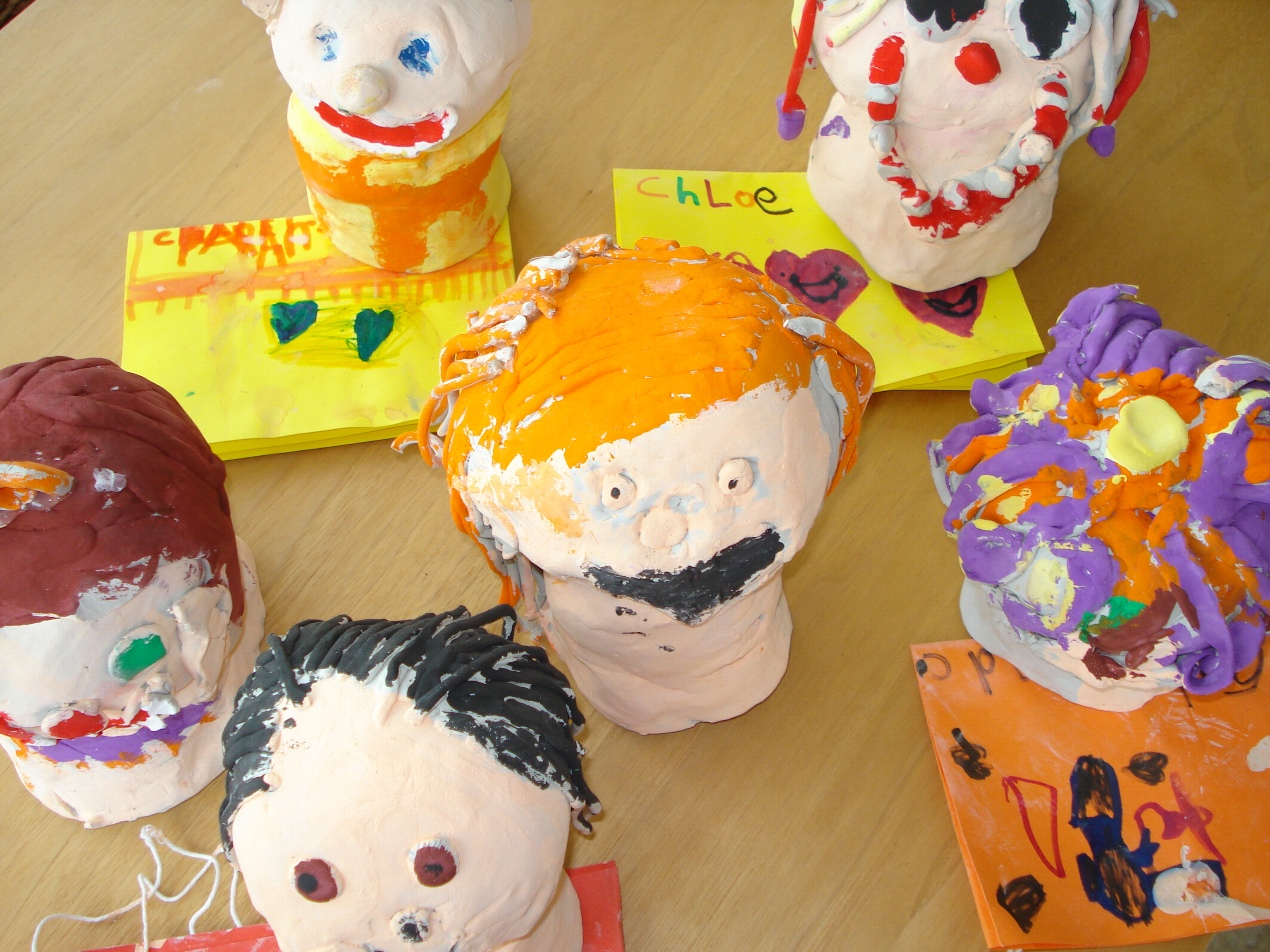 Clay Sculptures by 4-7 year olds